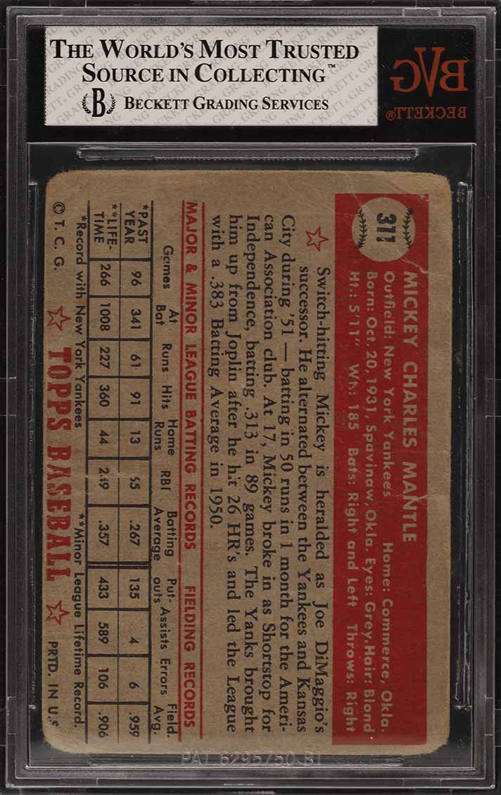 1952 Topps Mickey Mantle #311 BVG 1 PR (PWCC) - Image 2