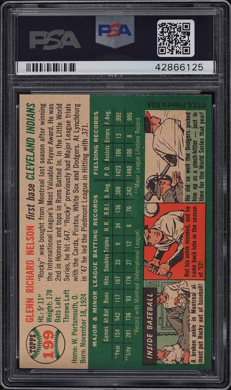 1954 Topps Rocky Nelson #199 PSA 9 MINT - Image 2