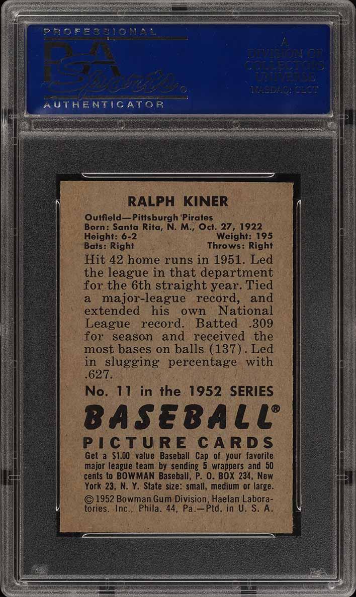 1952 Bowman SETBREAK Ralph Kiner #11 PSA 8 NM-MT (PWCC) - Image 2