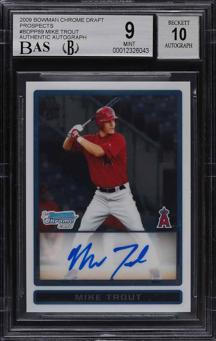 2009 Bowman Chrome Draft Mike Trout ROOKIE RC AUTO #BDPP89 BAS BGS 9 MINT - Image 1