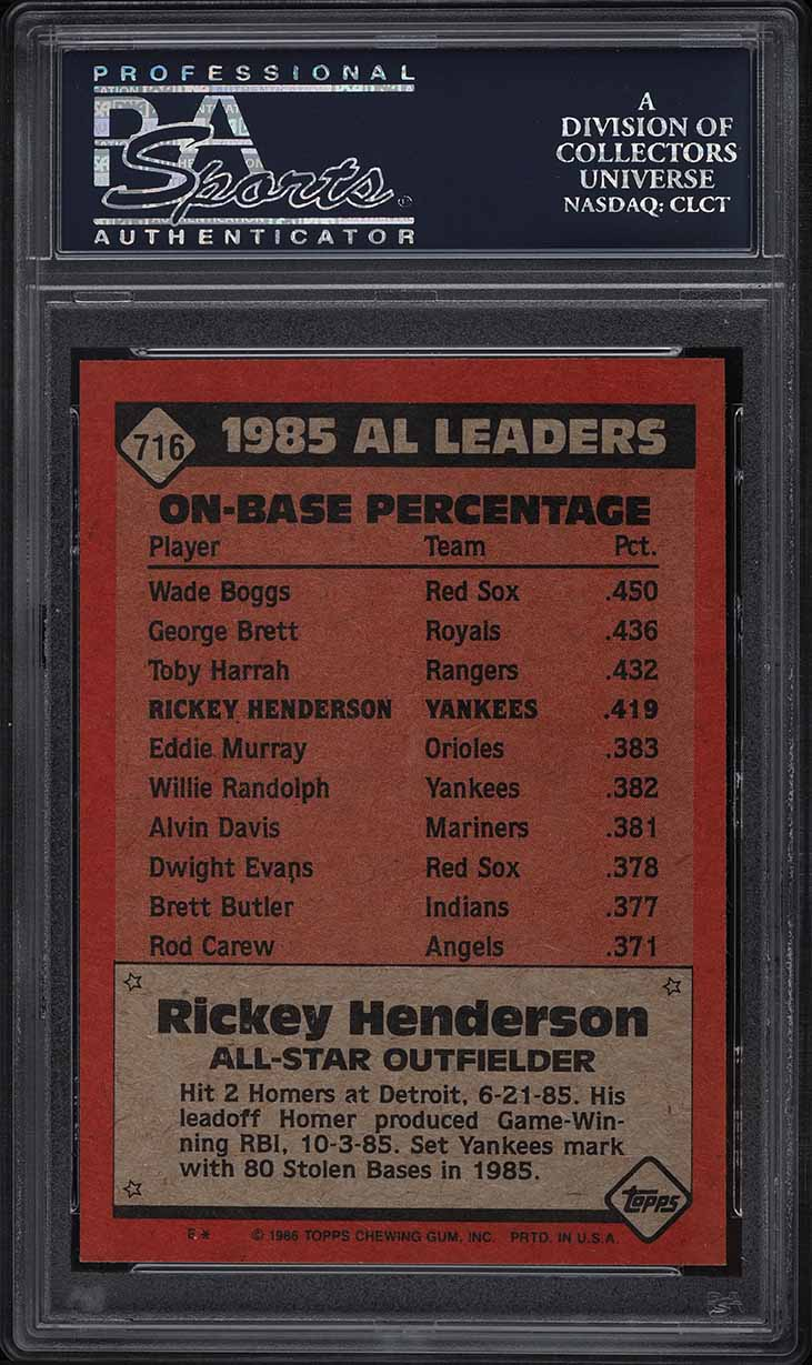 1986 Topps Rickey Henderson ALL-STAR #716 PSA 8 NM-MT - Image 2