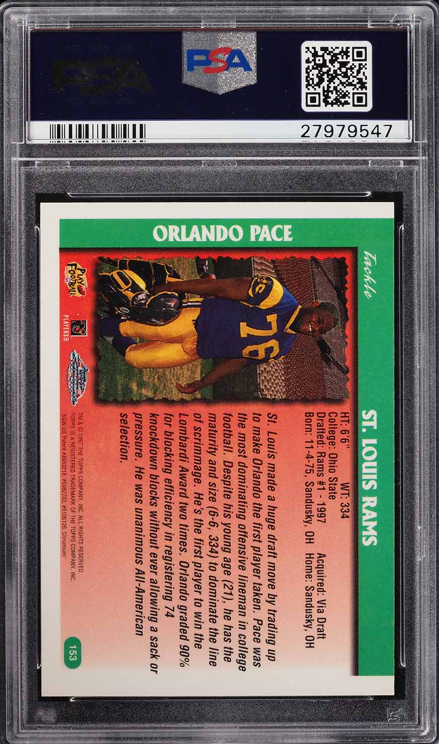 1997 Topps Chrome Orlando Pace Rookie Rc 153 Psa 9 Mint Pwcc Pwcc