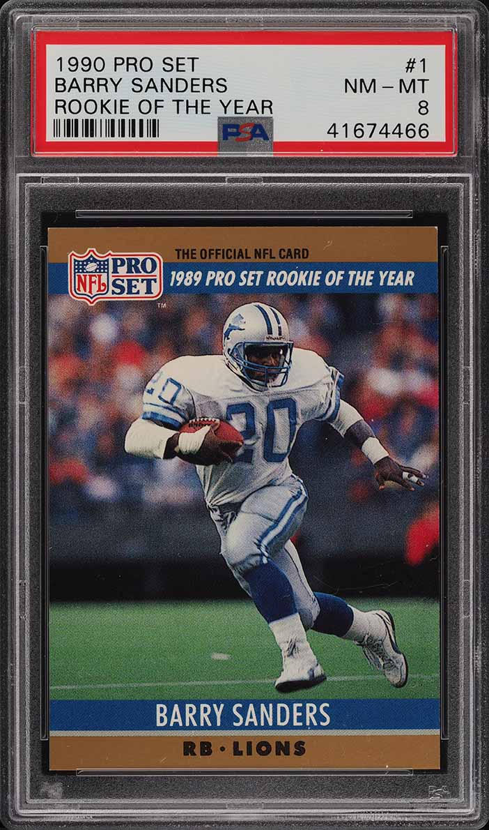 1990 Pro Set Football Rookie Of The Year Barry Sanders #1 PSA 8 NM-MT (PWCC) - Image 1
