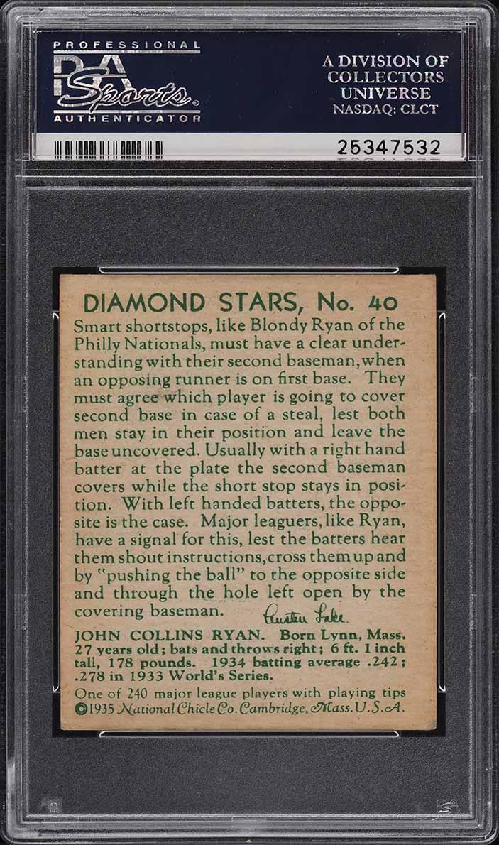 1935 Diamond Stars Blondy Ryan #40 PSA 5 EX - Image 2
