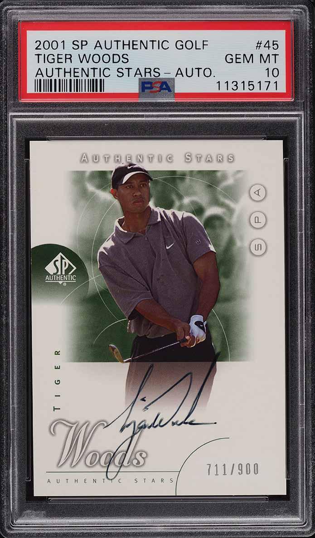 2001 SP Authentic Golf Tiger Woods ROOKIE RC AUTO /900 #45 PSA 10 GEM MINT - Image 1