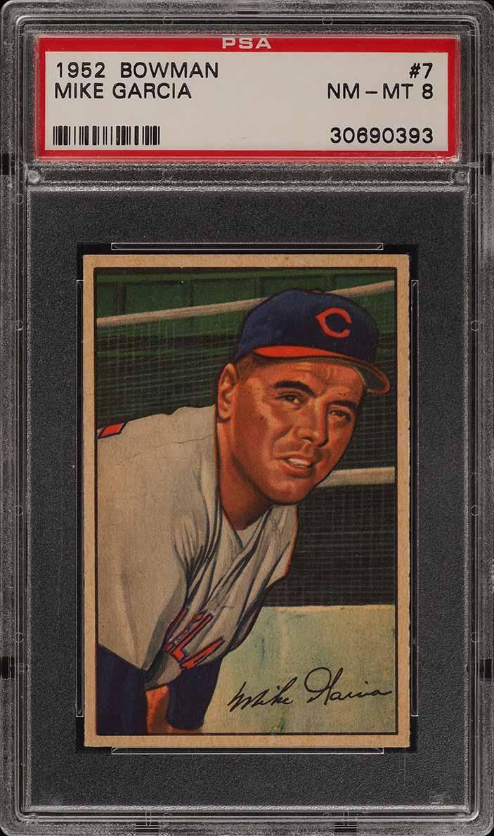 1952 Bowman SETBREAK Mike Garcia #7 PSA 8 NM-MT (PWCC) - Image 1