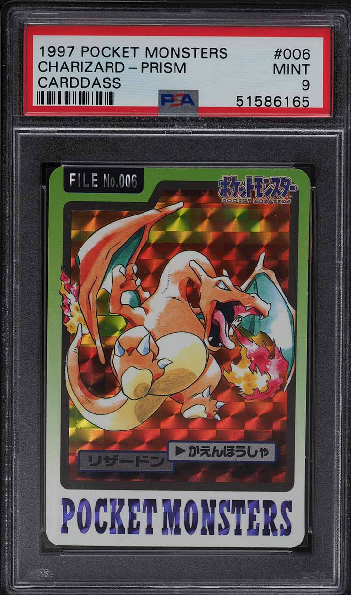 1997 Pokemon Japanese Pocket Monsters Carddass Prism Charizard #006 PSA 9 MINT - Image 1