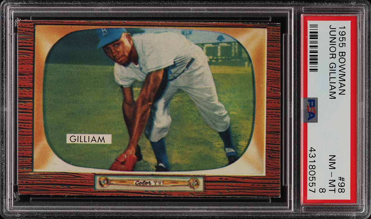 1955 Bowman Junior Gilliam #98 PSA 8 NM-MT (PWCC) - Image 1