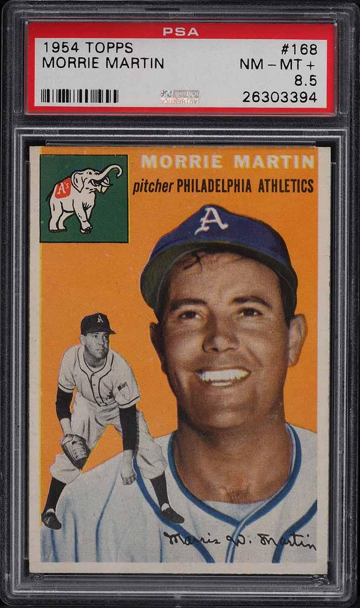 1954 Topps Morrie Martin #168 PSA 8.5 NM-MT+ - Image 1