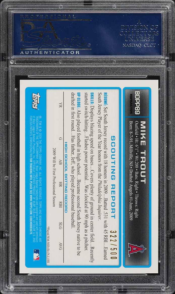 2009 Bowman Chrome Refractor Mike Trout ROOKIE RC AUTO /500 PSA 10 GEM MT (PWCC) - Image 2