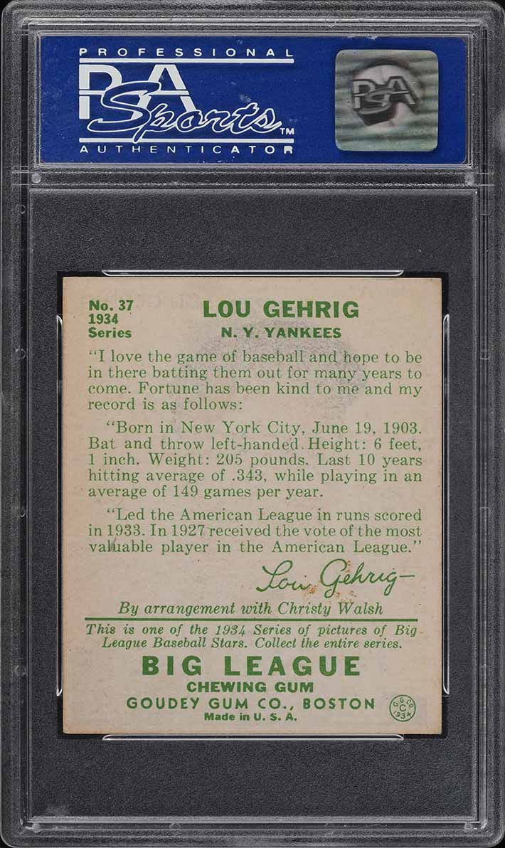 1934 Goudey Lou Gehrig #37 PSA 7 NRMT (PWCC) - Image 2
