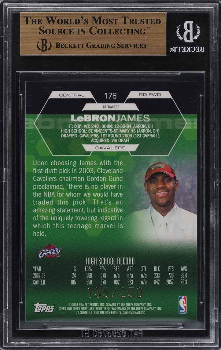2002 Finest Refractor LeBron James ROOKIE RC /250 #178 BGS 9.5 GEM MINT (PWCC) - Image 2