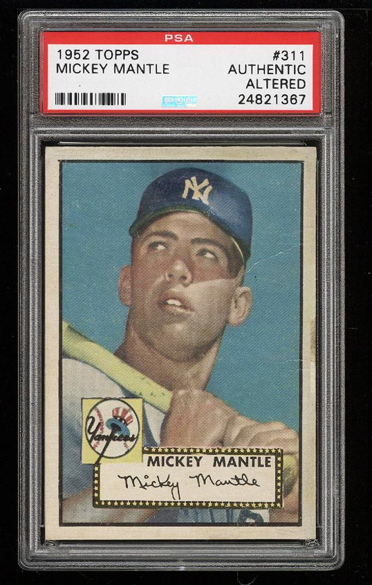 1952 Topps Mickey Mantle #311 PSA AUTH, Altered (PWCC) - Image 1
