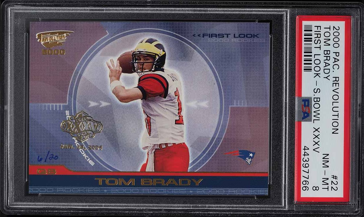 2000 Pacific Revolution First Look Super Bowl XXXV Tom Brady ROOKIE RC /20 PSA 8 - Image 1
