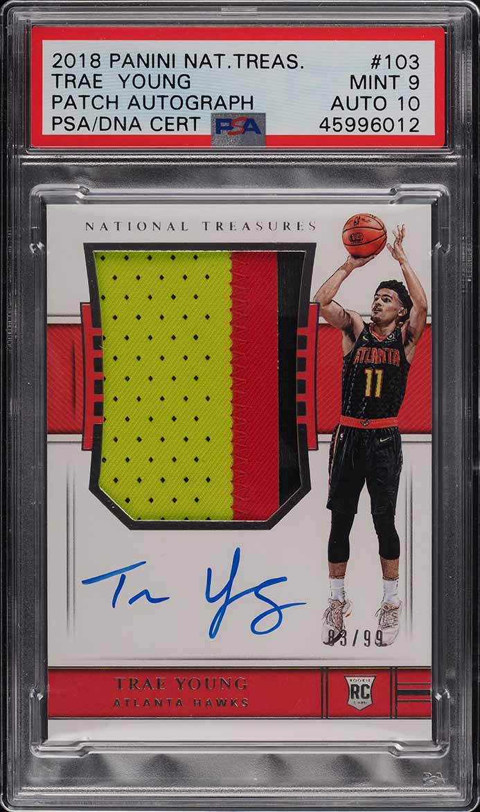 2018 National Treasure Trae Young ROOKIE RC PATCH PSA/DNA 10 AUTO /99 #103 PSA 9 - Image 1