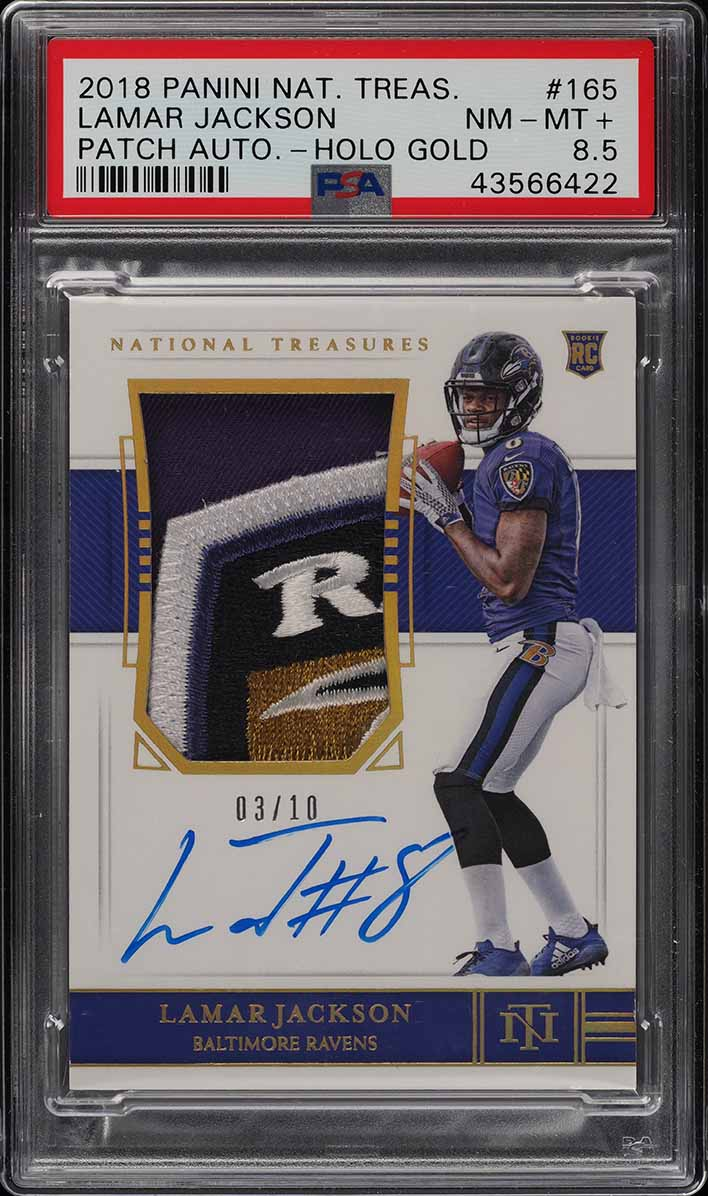 2018 National Treasures Holo Gold Lamar Jackson RC PATCH AUTO /10 PSA 8.5 (PWCC) - Image 1