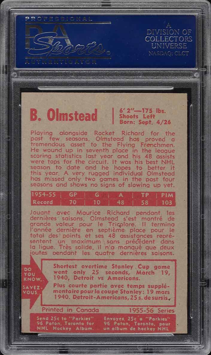 1955 Parkhurst Bert Olmstead #42 PSA 7 NRMT - Image 2