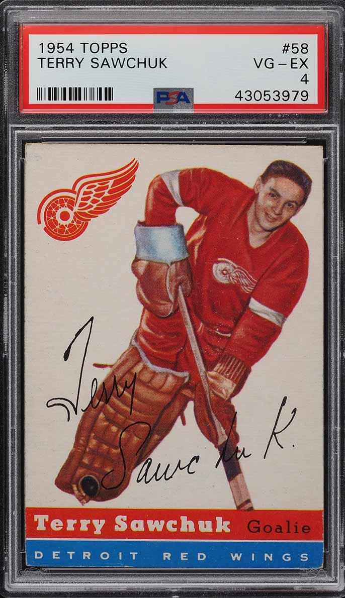1954 Topps Hockey Terry Sawchuk #58 PSA 4 VGEX - Image 1