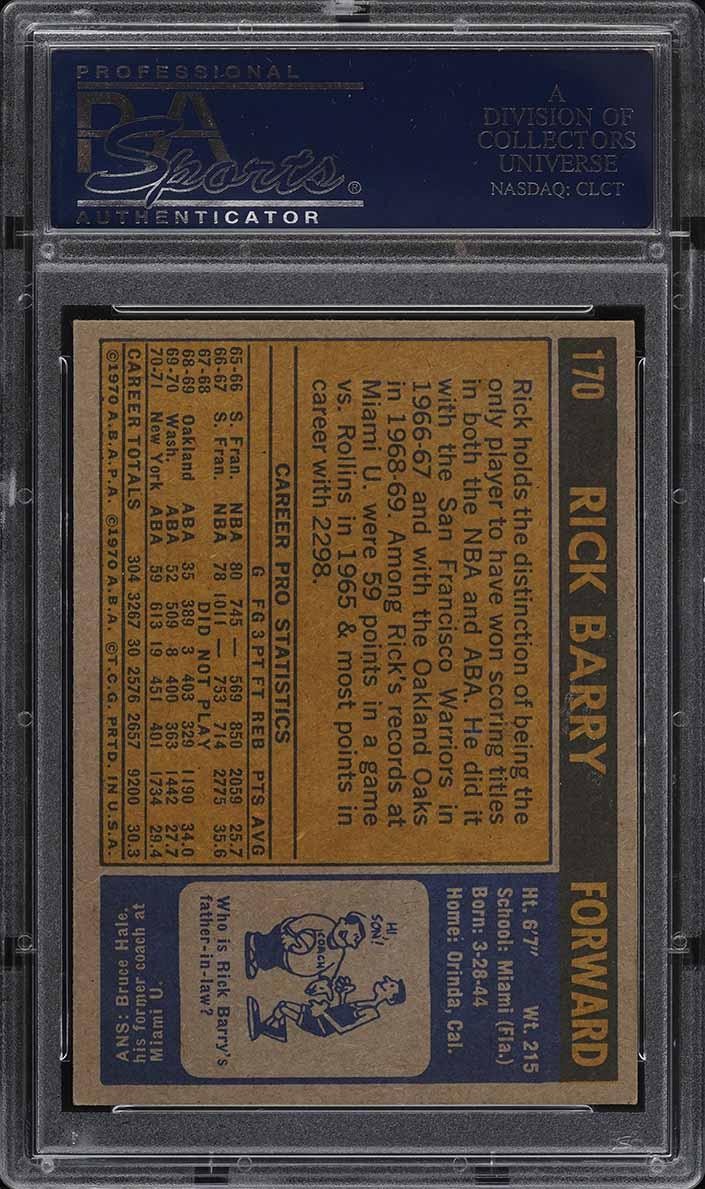 1971 Topps Basketball Rick Barry ROOKIE RC #170 PSA 7 NRMT (PWCC) - Image 2