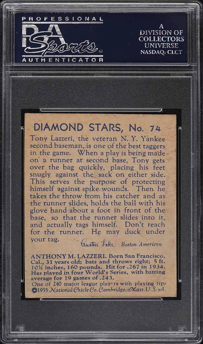 1935 Diamond Stars Tony Lazzeri BLUE BACK #74 PSA 5 EX - Image 2