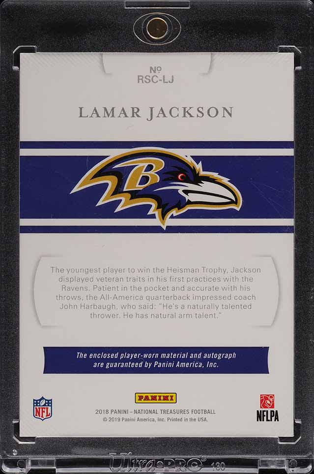 2018 National Treasures Lamar Jackson ROOKIE NFL SHIELD PLAYERS PATCH AUTO 1/1 - Image 2