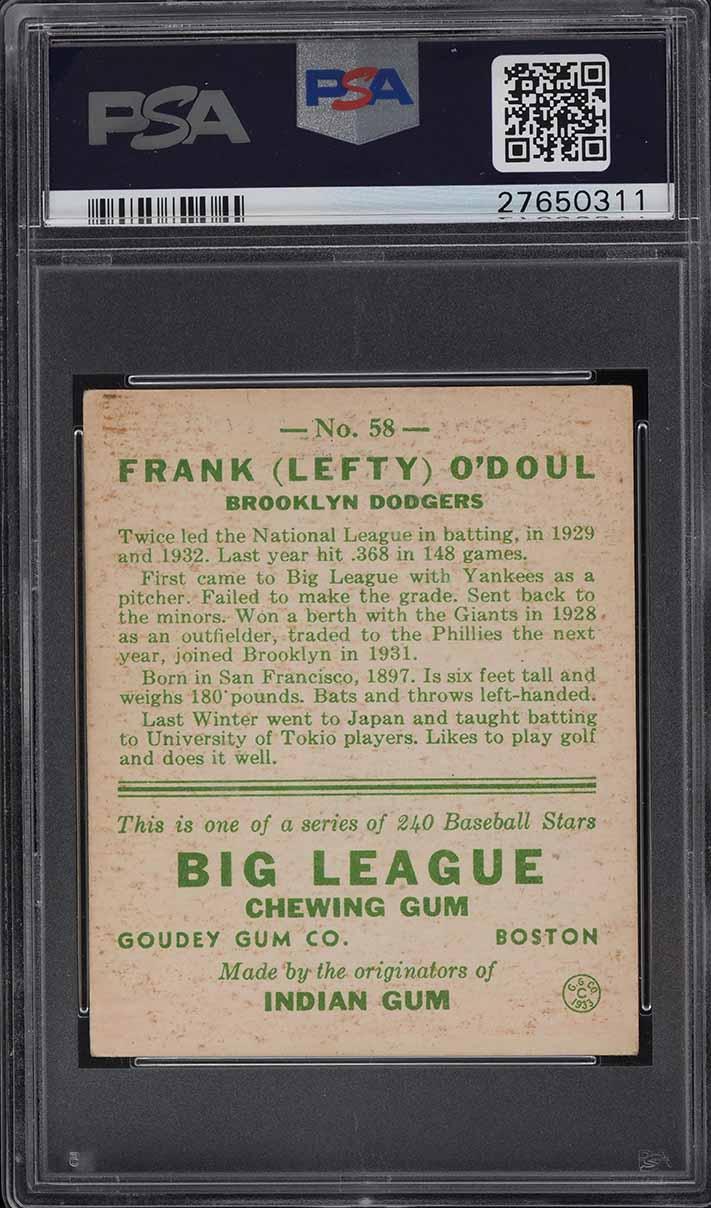 1933 Goudey Lefty O'Doul #58 PSA 6 EXMT - Image 2