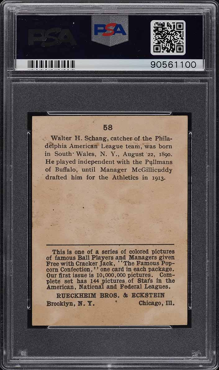 1914 Cracker Jack Wally Schang #58 PSA 6 EXMT (PWCC) - Image 2
