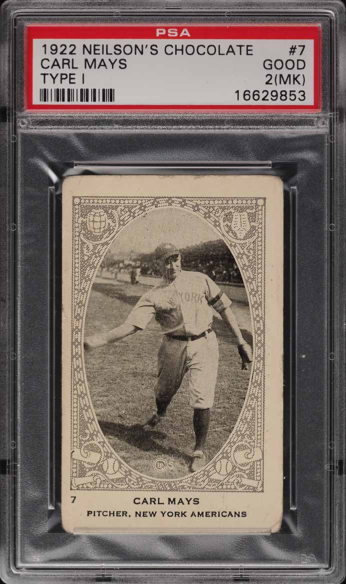 1922 Neilson's Chocolate Type I Carl Mays #7 PSA 2 GD - Image 1