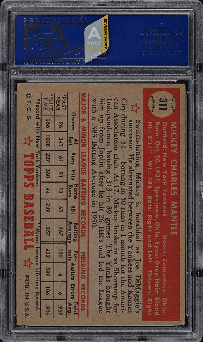 1952 Topps Mickey Mantle #311 PSA 4 VGEX (PWCC-A) - Image 2