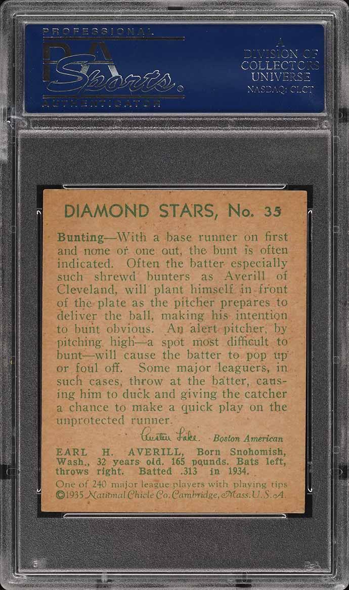 1935 Diamond Stars Earle Averill #35 PSA 6.5 EXMT+ - Image 2