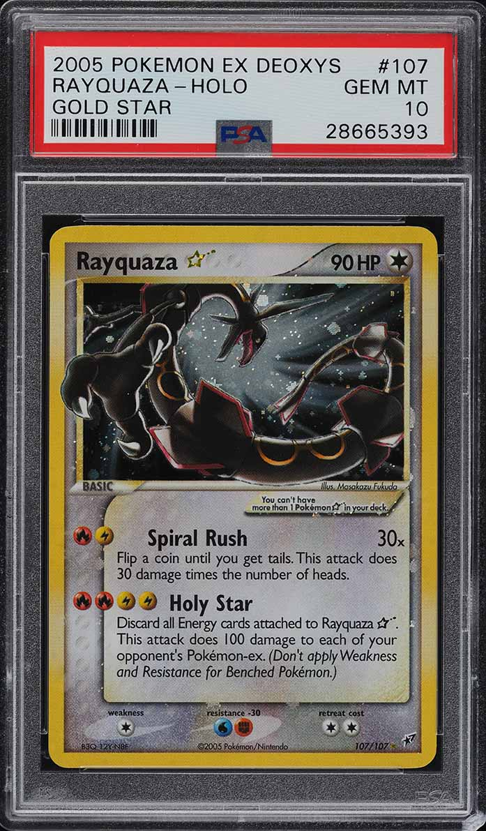 2005 Pokemon EX Deoxys Gold Star Holo Rayquaza #107 PSA 10 GEM MINT (PWCC) - Image 1