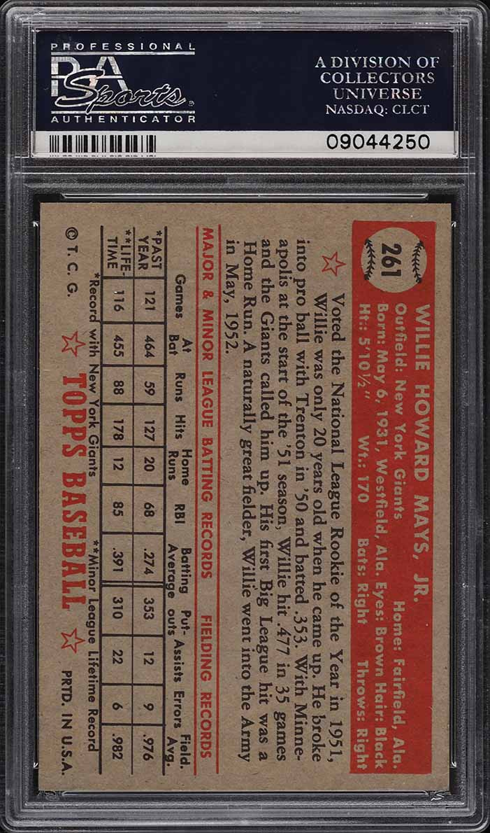 1952 Topps Willie Mays #261 PSA 8 NM-MT - Image 2