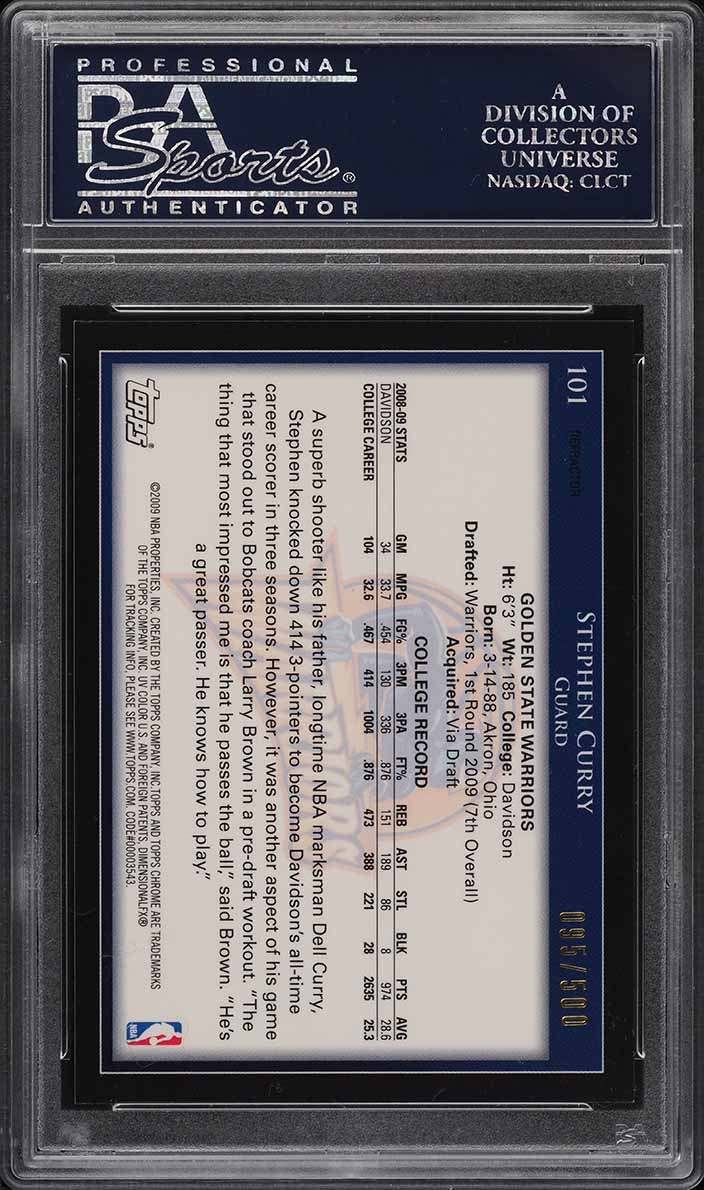 2009 Topps Chrome Refractor Stephen Curry ROOKIE RC /500 #101 PSA 10 GEM MINT - Image 2