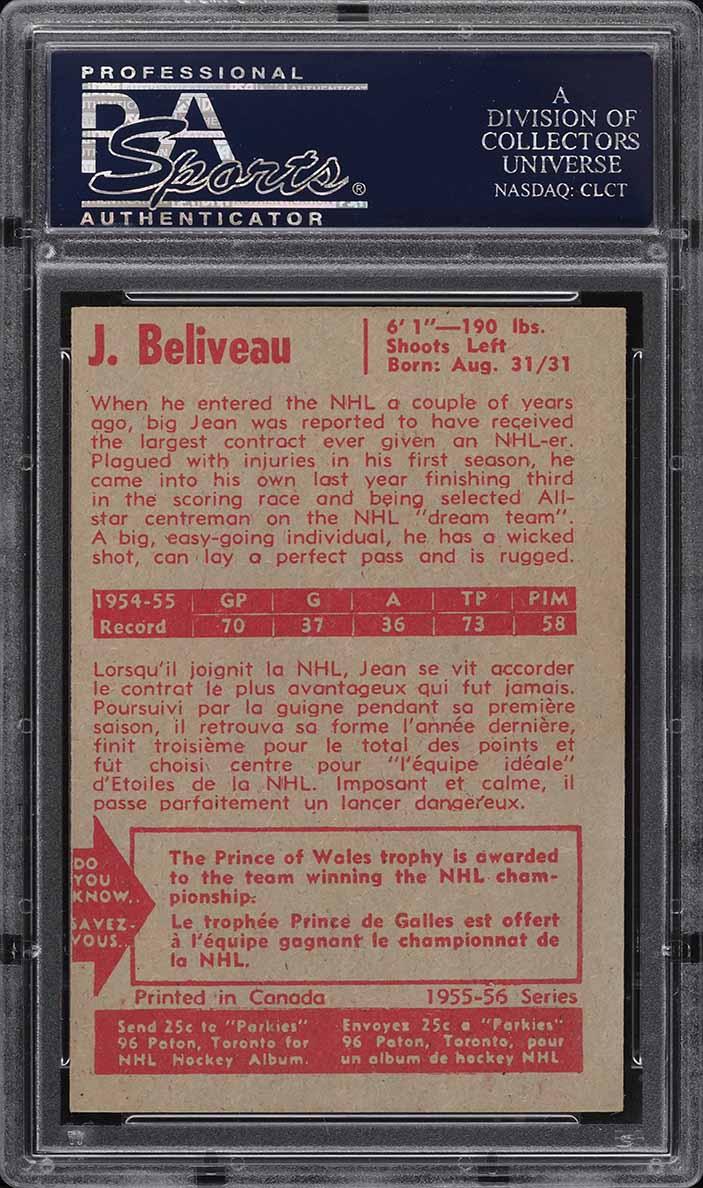 1955 Parkhurst Jean Beliveau #44 PSA 7 NRMT - Image 2