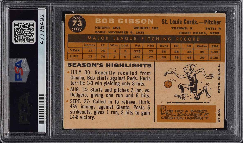 1960 Topps Bob Gibson #73 PSA 4 VGEX - Image 2