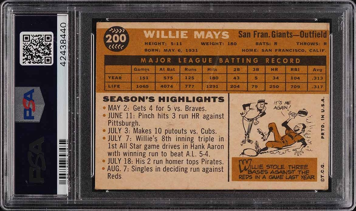 1960 Topps Willie Mays #200 PSA 2 GD - Image 2