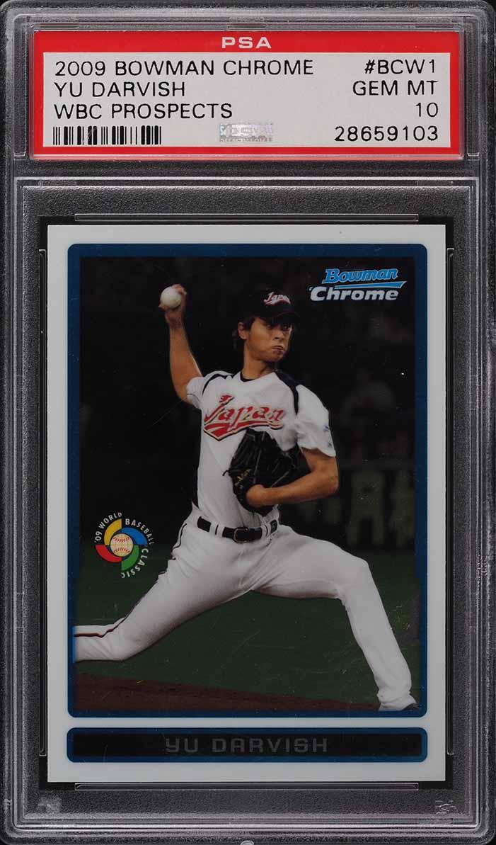 2009 Bowman Chrome WBC Prospect Yu Darvish ROOKIE RC PSA 10 - Image 1