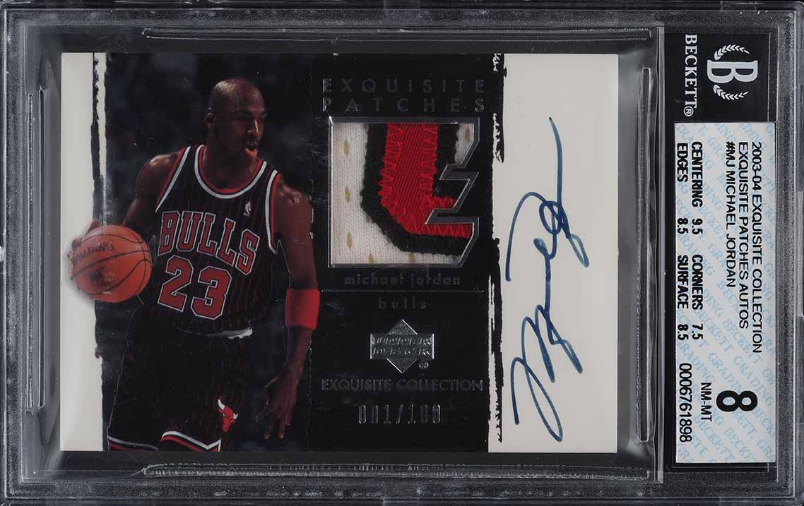 Lot 1/2: 2003 Exquisite Collection Michael Jordan PATCH AUTO 1/100 BGS 8 (PWCC) - Image 1