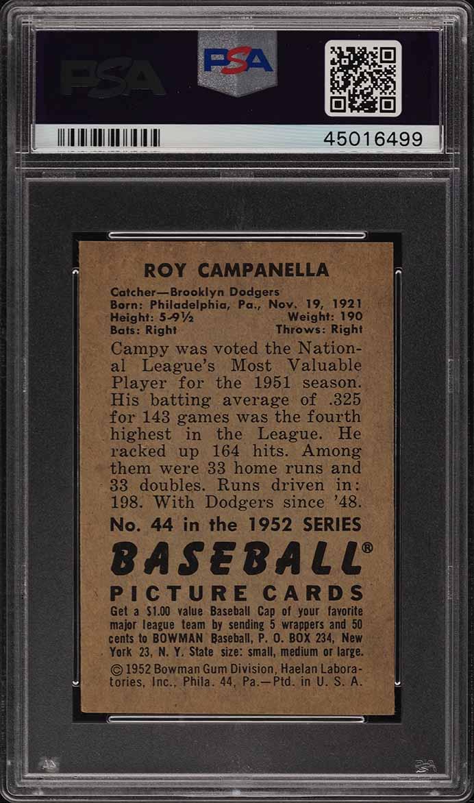 1952 Bowman Roy Campanella #44 PSA 7 NRMT (PWCC) - Image 2