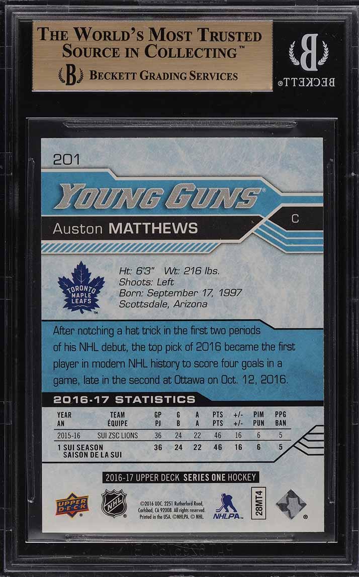 2016 Upper Deck Young Guns Auston Matthews ROOKIE RC #201 BGS 10 PRISTINE (PWCC) - Image 2