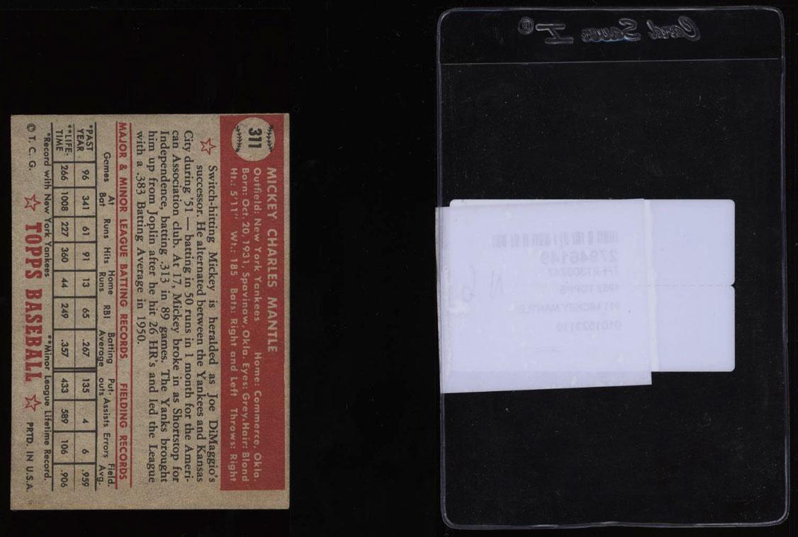 1952 Topps Mickey Mantle #311 PSA Minimum Size, VGEX (PWCC) - Image 2