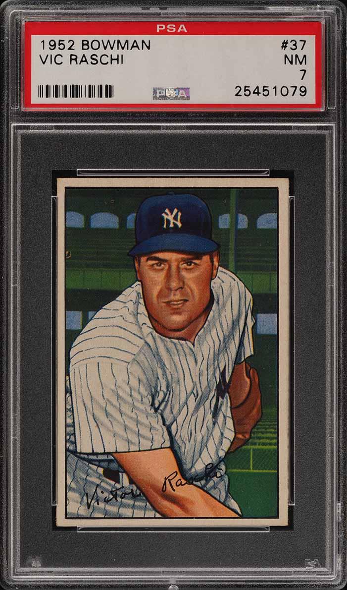1952 Bowman SETBREAK Vic Raschi #37 PSA 7 NRMT (PWCC) - Image 1