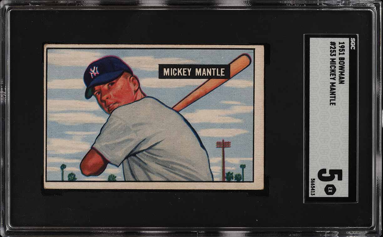 1951 Bowman Mickey Mantle ROOKIE RC #253 SGC 5 EX (PWCC) - Image 1