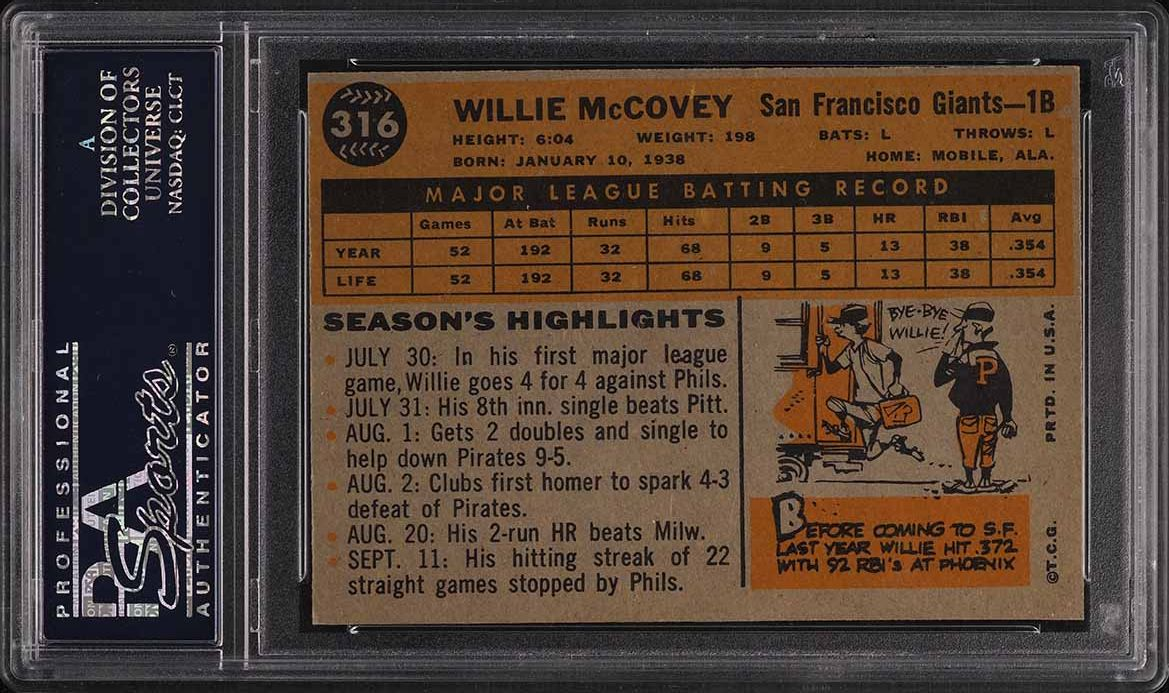1960 Topps Willie McCovey ROOKIE RC #316 PSA 8 NM-MT - Image 2