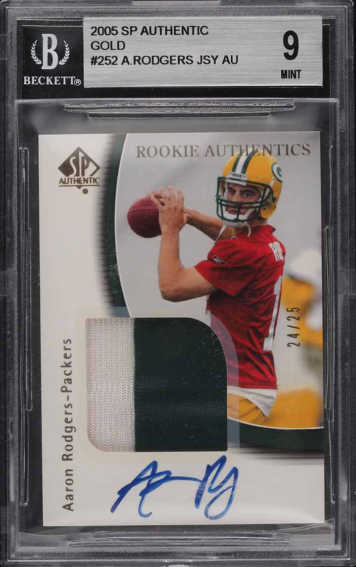 2005 SP Authentic Gold Aaron Rodgers ROOKIE RC PATCH AUTO /25 #252 BGS 9 MINT - Image 1