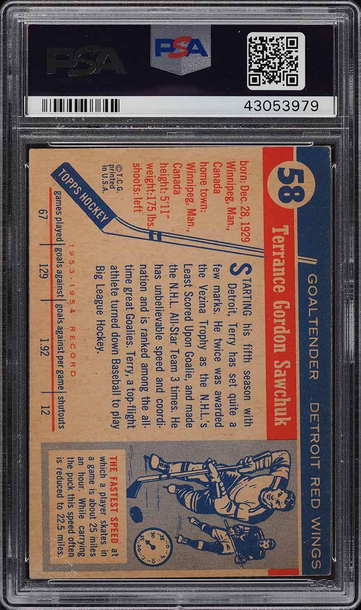 1954 Topps Hockey Terry Sawchuk #58 PSA 4 VGEX - Image 2