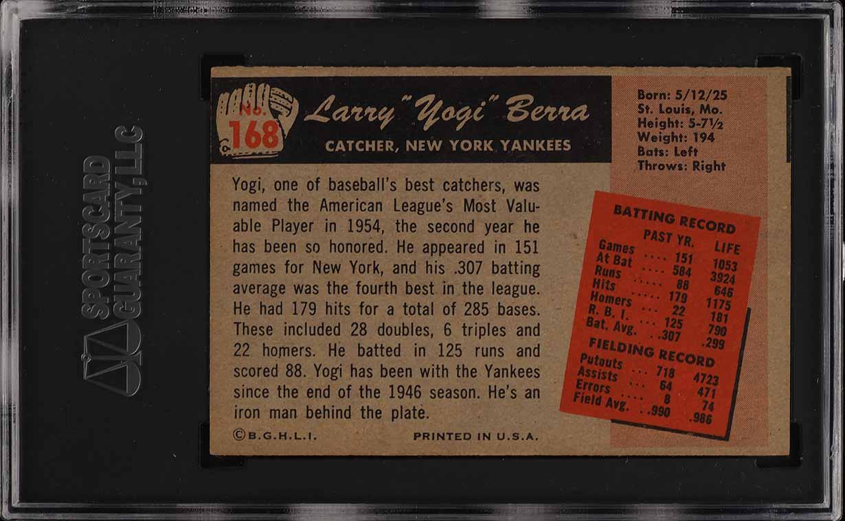 1955 Bowman Yogi Berra #168 SGC 6 EXMT (PWCC) - Image 2