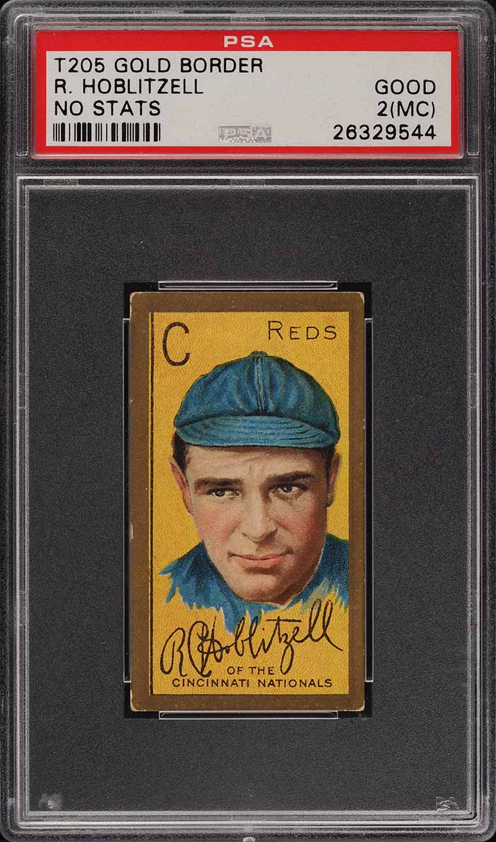 1911 T205 Gold Border Dick Hoblitzell NO STATS ON BACK PSA 2(mc) GD (PWCC) - Image 1
