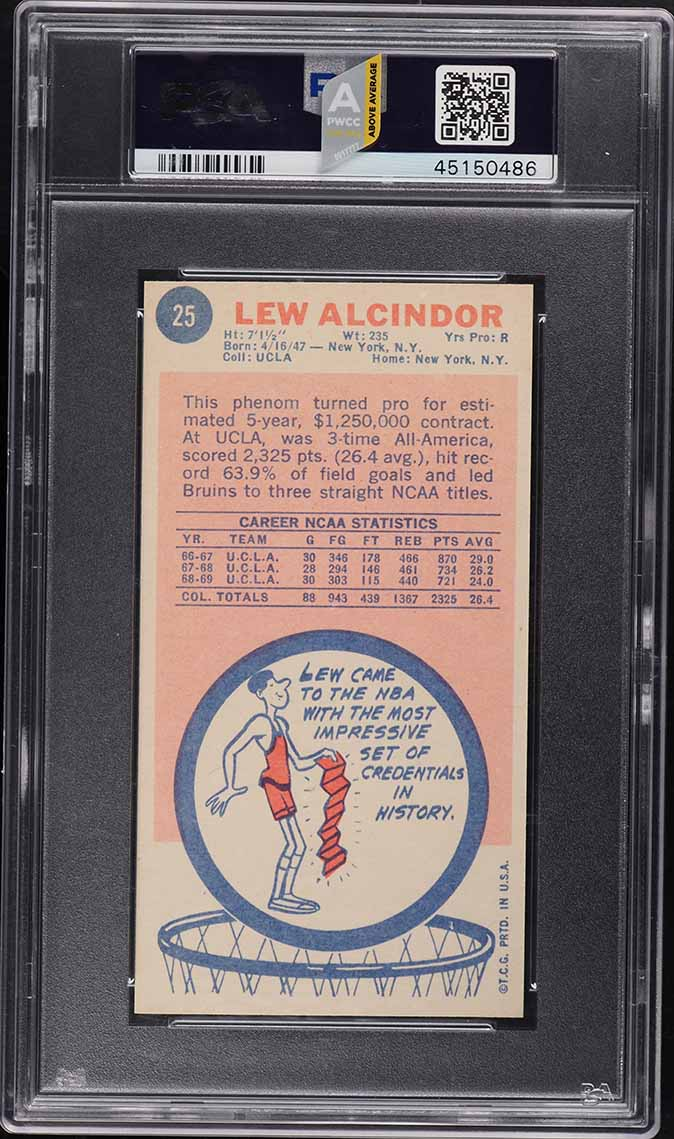 1969 Topps Basketball Lew Alcindor ROOKIE RC #25 PSA 8 NM-MT (PWCC-A) - Image 2