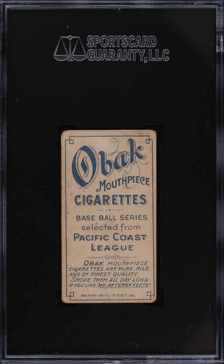 1909 T212 Obak Fitzgerald STAMPED BACK SGC 3 VG - Image 2